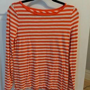 Madewell Orange striped tee